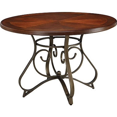 Powell® 29 1/2in. Round Wood/Metal Hamilton Dining Table, Medium Cherry