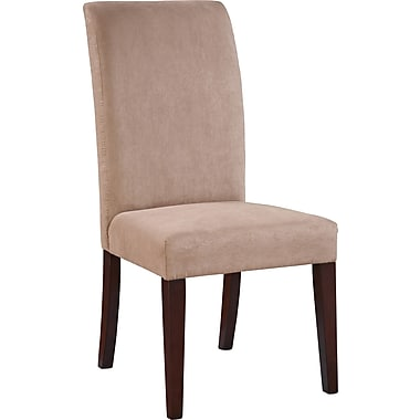 Powell® Microfiber/Wood Slip Over Parsons Chair, Dark Beige