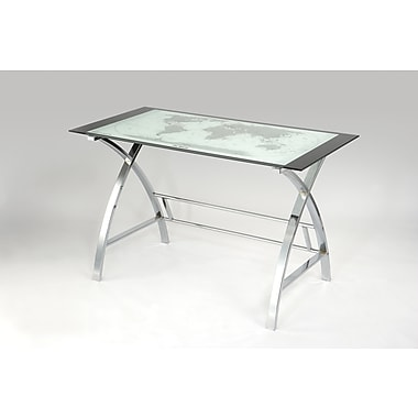 Powell® World Map Printing Metal/Glass Curved X-Sided Computer Desk