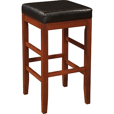 Powell® Faux Leather Square Backless Bar Stool, Black/Cherry