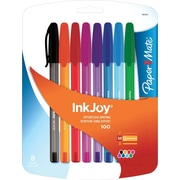 Paper Mate InkJoy 100 Stick Ballpoint Pens, Medium Point, Fashion Colored, 8/Pack