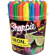 Sharpie Neon Permanent Markers, Fine Point, Neon Colored Ink, 36/Pack