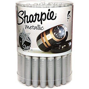 Sharpie Metallic Permanent Markers, Fine Point, Silver Ink, 36/Pack