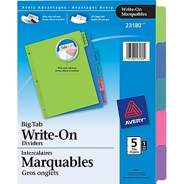 Avery® 23180 Intercalaires Write On voyants, couleurs variées, 5 onglets