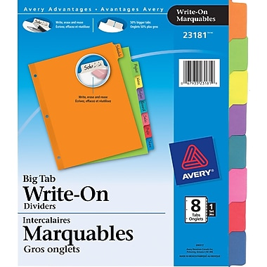 Avery® 23181 Intercalaires Write On voyants, couleurs variées, 8 onglets