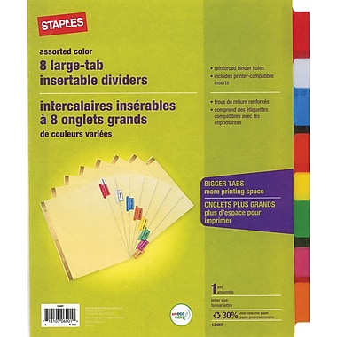 Staples large tab insertable dividers 8 tab assorted for 8 large tab insertable dividers template