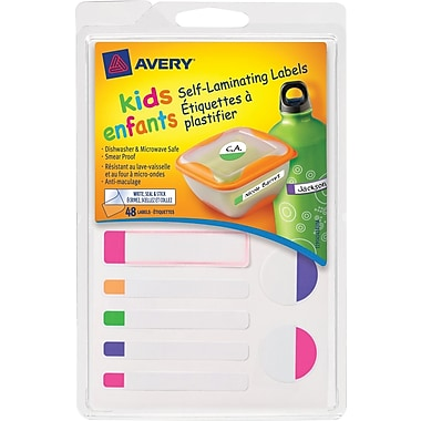 Avery Self-Laminating Labels for Kids Gear, Primary Colors, Assorted Shapes and Sizes