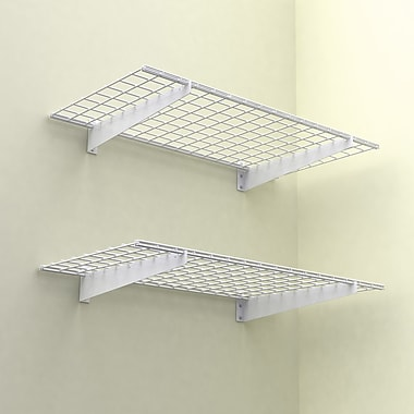 Wall Shelf, 48in.x24in., White, 2 Shelves/Pack
