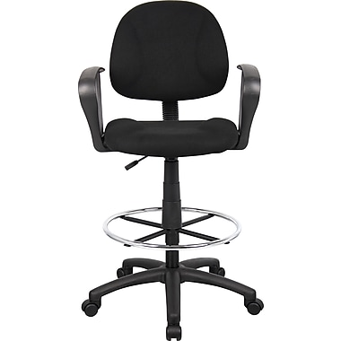 BOSS Mid-Back Fabric Drafting Stool, Fixed Arms, Black