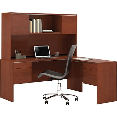 Bestar Fall Creek L-Shaped Workstation with Hutch Set, Bordeaux