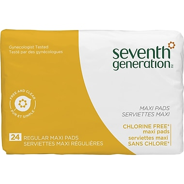 Seventh Generation Feminine Care Pads, Maxi Regular, 24/Box