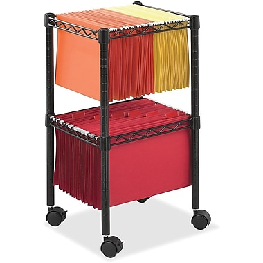 Safco® 2-Tier Compact Mobile File Cart, Black