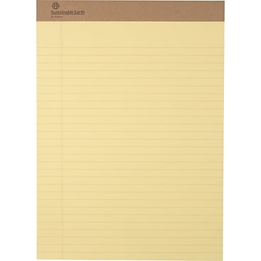Sustainable Earth By Staples® Eco-Conscious Writing Pads, Canary Perforated Notepads, Wide Ruled, 8-1/2in. x 11-3/4in., 12/Pack