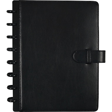 M by Staples™ Arc Customizable Leather Notebook System, Black with Closure, 6-3/4in. x 8-3/4in.