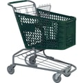 Traditional Plastic Shopping Cart, Dark Green, 72 liters