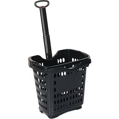 Rolling Hand Basket w/ Retractable Pull Handle, 40 Liter, Black, 10 Baskets/Pack