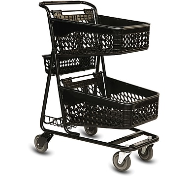TT-100 Convenience Shopping Cart, Black Frame, Red Baskets