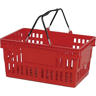 Wire Handle Hand Basket, 26 Liter, Red, 12 Baskets/Pack