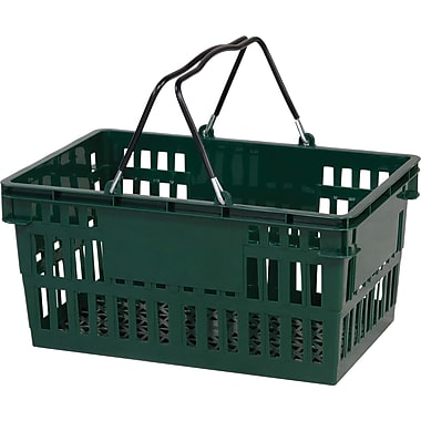Wire Handle Hand Basket, 26 Liter, Dark Green 12/Pack
