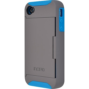 Stowaway Credit Card Case for iPhone 4/4S, Dark Gray / Laser Blue