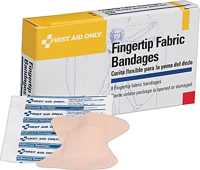 First Aid Only Fingertip Bandage Large Fabric 8 Box 1 010