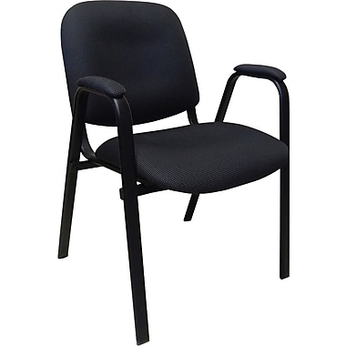 Marco Stack Guest Chair with Padded Arm, 4/Pack, Black/Grey