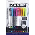 The Write Dudes Neon Infinity Permanent Markers, Ultra Fine Point, Assorted Colors, 8/Pack