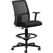 HON Ignition Low-Back Task/Drafting Stool with Footring, Arms for Office and Computer Desks, Black