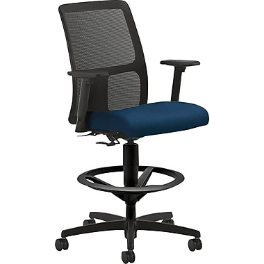 HON Ignition Low-Back Task/Drafting Stool with Footring, Arms for Office and Computer Desks, Mariner