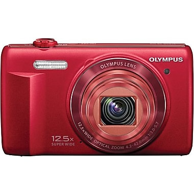 Olympus VR-370 16MP 12.5X Wide Zoom Digital Camera, Red