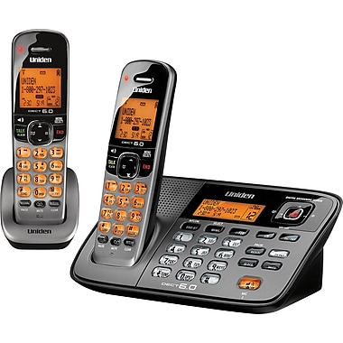 Uniden D1788-2 DECT 6.0 2 Handsets Corded/Cordless Telephone with Digital Answering Machine/Caller ID/Call Waiting