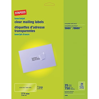 staplesr clear inkjet laser address labels 1quot x 2 5 8 With clear mailing labels staples