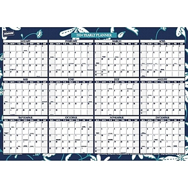 2014 Staples® Compact Erasable Yearly Wall Planner, 24in. x 17in.