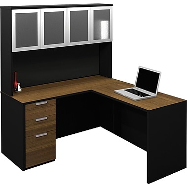 Bestar Pro-Concept L-Shaped Workstation With High Hutch, Milk Chocolate & Black