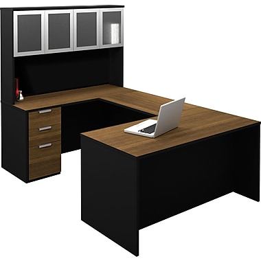 Bestar Pro-Concept U-Shaped Workstation With High Hutch, Milk Chocolate & Black