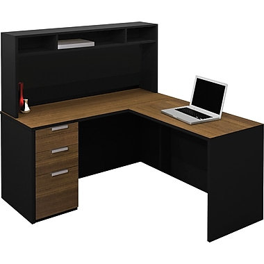 Bestar Pro-Concept L-Shaped Workstation With Small Hutch, Milk Chocolate & Black