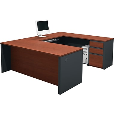 Bestar Prestige+ U-shaped Workstation Kit, Bordeaux & Graphite