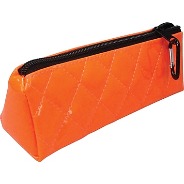 Quilted Polypropolene Zipper Pencil Pouch, Orange