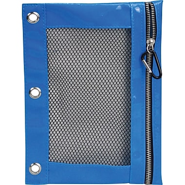 Quilted Polypropolene Binder Pencil Pouch, Blue