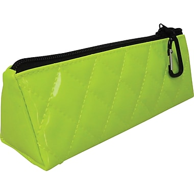 Quilted Polypropolene Zipper Pencil Pouch, Green