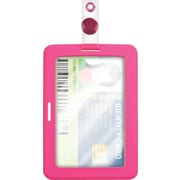 "Cosco® MyID™ Rubberized Pink ID Badge Holder for Key Cards and ID Cards,  4"" x 2.75"""