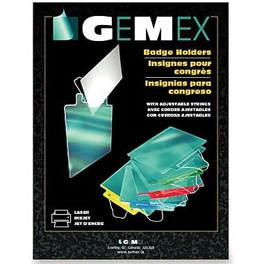 Gemex – Porte-insignes avec corde réglable, 3 x 4 po, paquet de 100, bande rouge