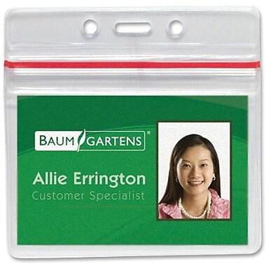 Baumgartens® Sealable ID Badge Holder, Horizontal, 50/Pack