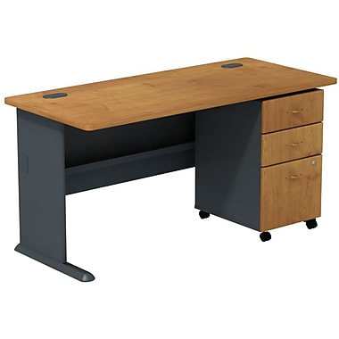 Bush Business Cubix 60W Desk with 3Dwr Mobile Pedestal, Natural Cherry/Slate, Installed