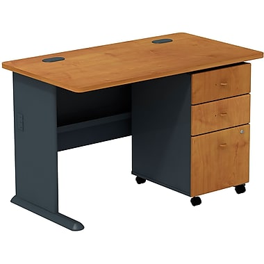 Bush Cubix 48in.W Desk w/ 3 Dwr Mobile Ped (B/B/F) - Natural Cherry/Slate Gray, Fully assembled
