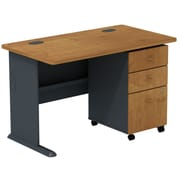 Bush Cubix 48 Corner Desk w/ 3-drawer File - Natural Cherry/Slate Gray