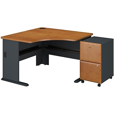 Bush Cubix 48in. Corner Desk w/ 2-drawer File, Natural Cherry/Slate Gray