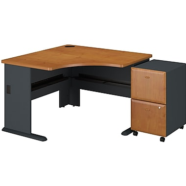 Bush Business Cubix 48W Corner Desk with 2Dwr Mobile Pedestal, Natural Cherry/Slate, Installed