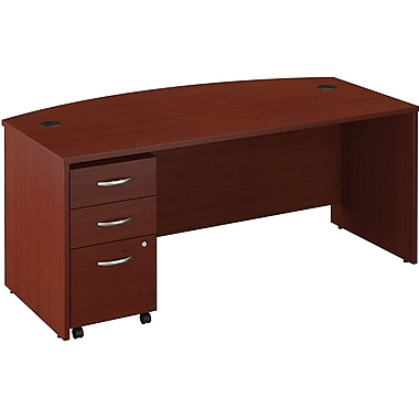 Bush Business Westfield Collection72W x 36D Bow Front Desk with 3Dwr Mobile Pedestal, Cherry Mahogany, Installed