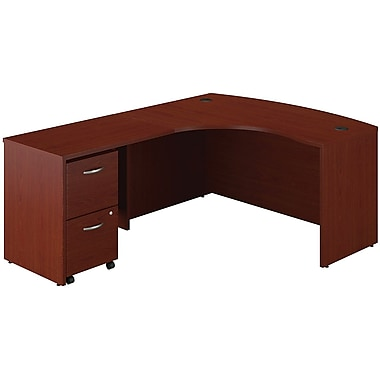 Bush Business Westfield 60W Left Handed Bow Front Desk, Return Bridge and 2Dwr Pedestal, Cherry Mahogany
